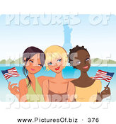 Vector Clipart of a Trio of Young Diverse Girlfriends Waving American Flags near the Statue of Liberty by Monica