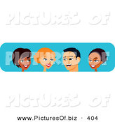 Vector Clipart of Four Diverse Black, White and Hispanic Men and Women Chatting by Monica