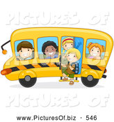 Vector Clipart of Happy Diverse School Kids on a Bus by BNP Design Studio