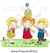 Vector Clipart of White Girls and a Boy Trying to Catch a Butterfly with a Net by BNP Design Studio