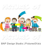 Vector of Diverse Kids Painting by BNP Design Studio