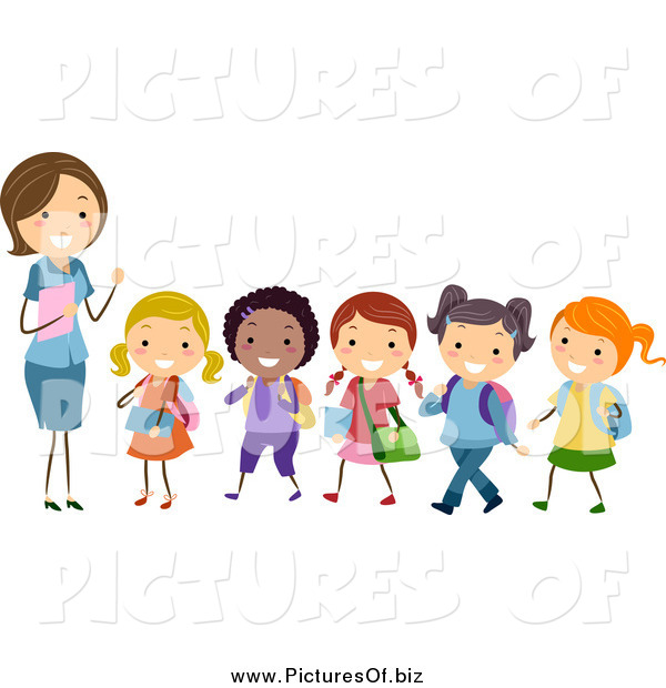 Vector Clipart of a White Female Stick Teacher Leading a ... Hands Holding Something Drawing